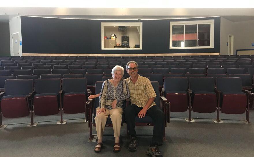 Rose Schindler and her son, Ben Schindler, sit in the auditorium of Ramona High School, Oct. 23, 2019.