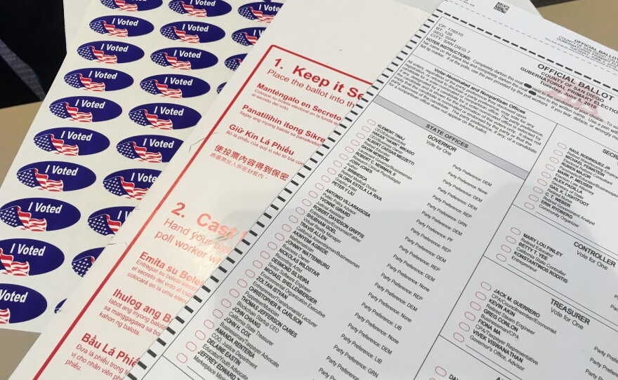 A 2018 California primary election ballot is shown at a polling station in San Diego, June 5, 2018.