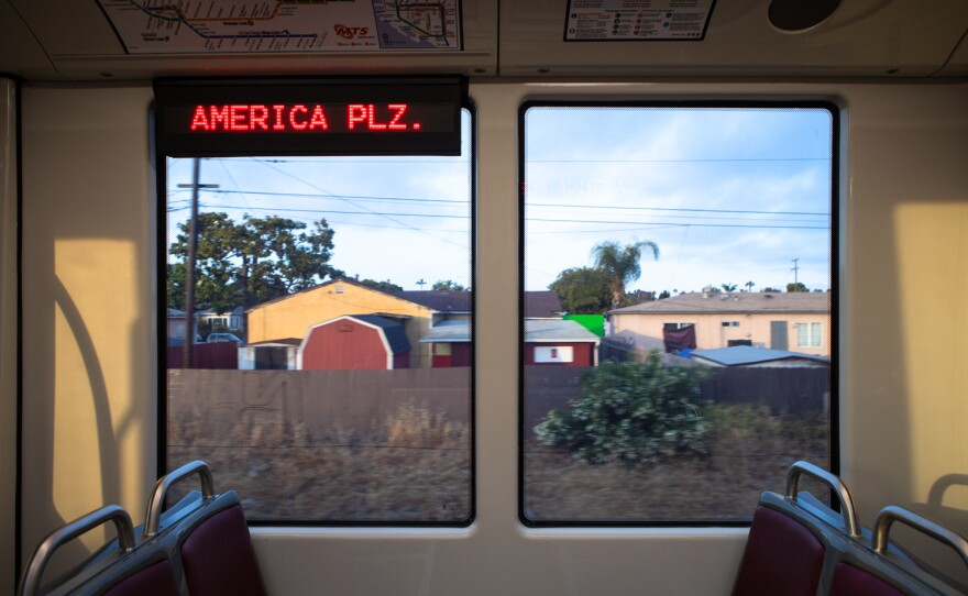 A Blue Line trolley travels toward downtown San Diego, June 1, 2021.
