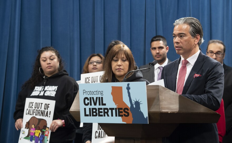 Assemblymember Rob Bonta at a news conference on Feb. 20, 2020.