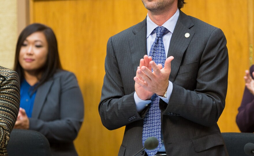 San Diego City Councilman Mark Kersey at a council meeting, Feb. 25, 2014.
