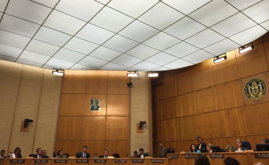 The San Diego City Council listens to Halla Razak, director of public utilities, during a meeting, Nov. 17, 2015.