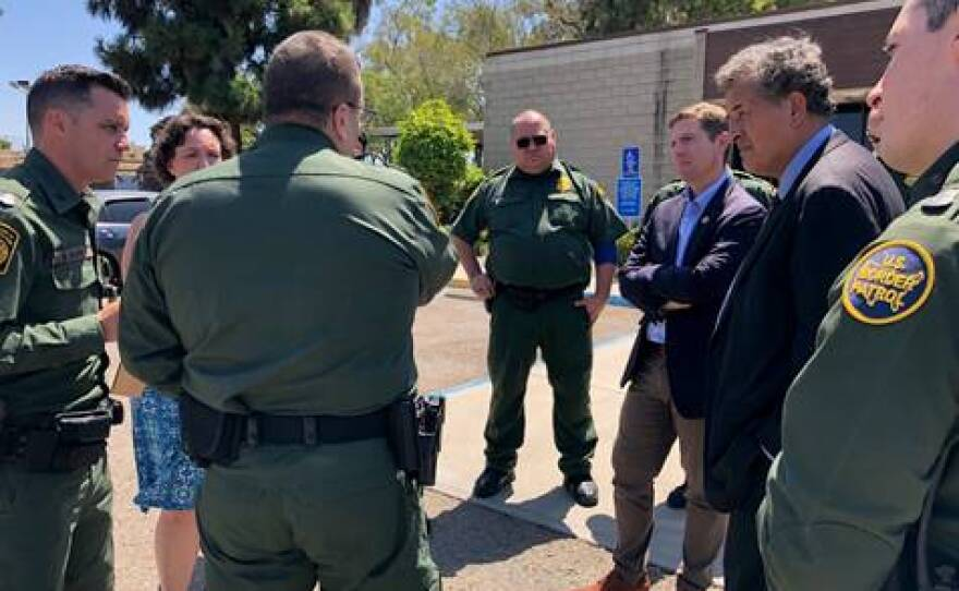 Reps Katie Porter, D-Irvine, Mike Levin, D-Oceanside and Juan Vargas, D-San Diego at the Chula Vista Border Patrol Station on August 28, 2019.