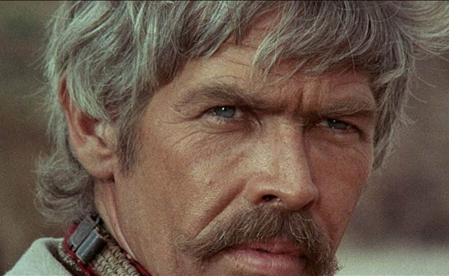 """Director Sergio Leone loves the landscape of the human face. For """"Duck, You Sucker"""" in 1971 he tapped American stars James Coburn (pictured here) and Rod Steiger."""