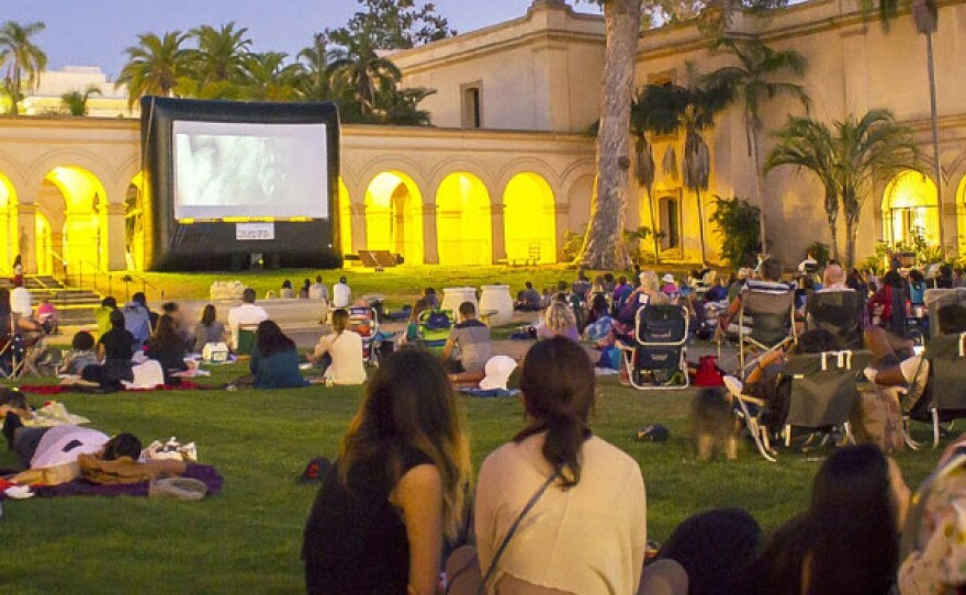 A film plays at San Diego Museum of Art's Screen on the Green movie night in this undated photo.