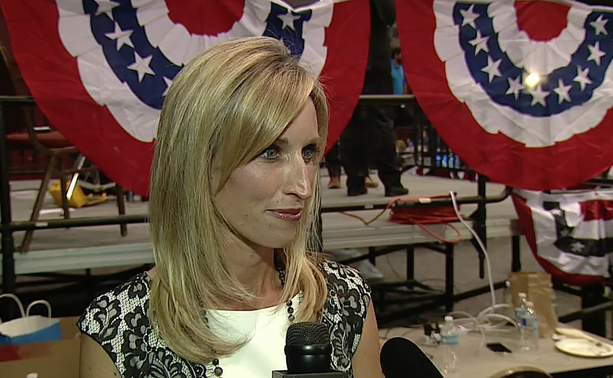 San Diego County supervisor candidate Kristin Gaspar talks to KPBS during election night at Golden Hall in downtown San Diego, Nov. 8, 2016.