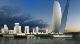 """A rendering of the """"Wings of Freedom"""" sculpture being proposed for the tip of Navy Pier in downtown San Diego."""