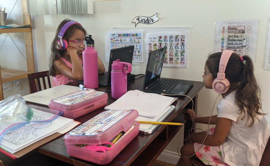 Maya Ramos and Kaia Cagasan attend Kindergarten over Zoom from Ramos's San Carlos home, Oct. 5, 2020.