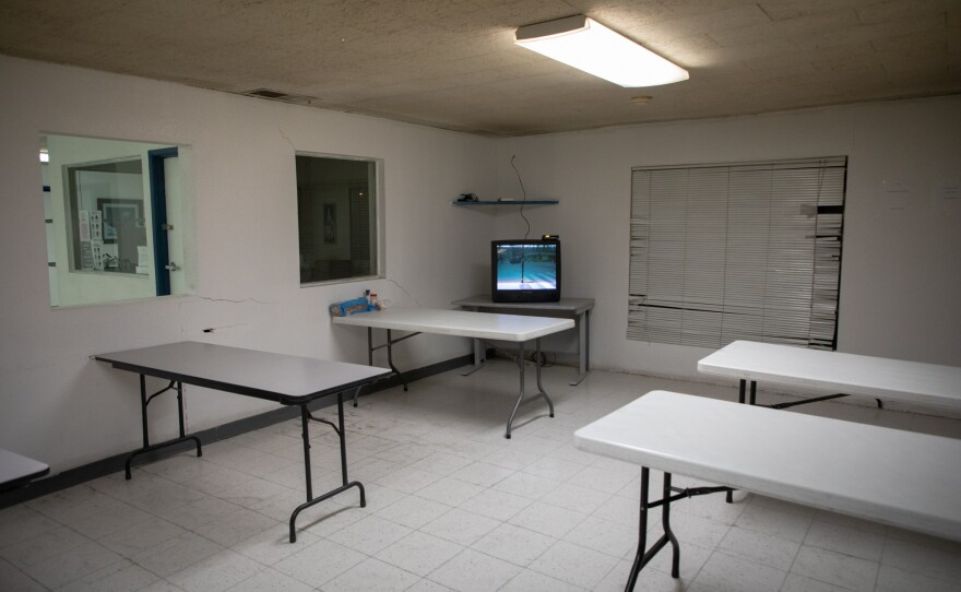 The dining area at the emergency homeless shelter in Calexico is shown on April 21, 2020. Catholic Charities operates the shelter.
