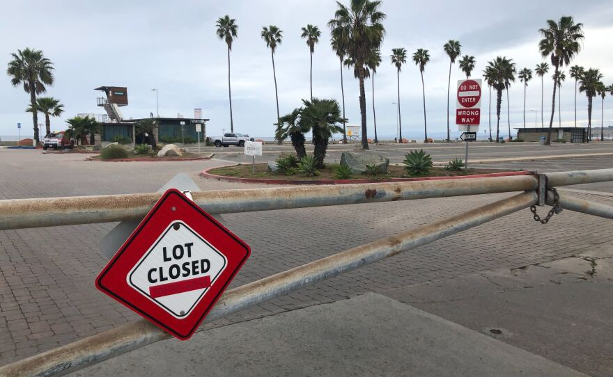 The parking lot at La Jolla shores is closed following orders from the city of San Diego in order to prevent spread of COVID-19, March 22, 2020.