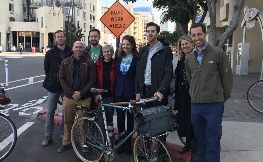 San Diego County Bicycle Coalition Executive Director Andy Hanshaw, second from left, stands with former members of the Bicycle Advisory Board, Feb. 6, 2019.