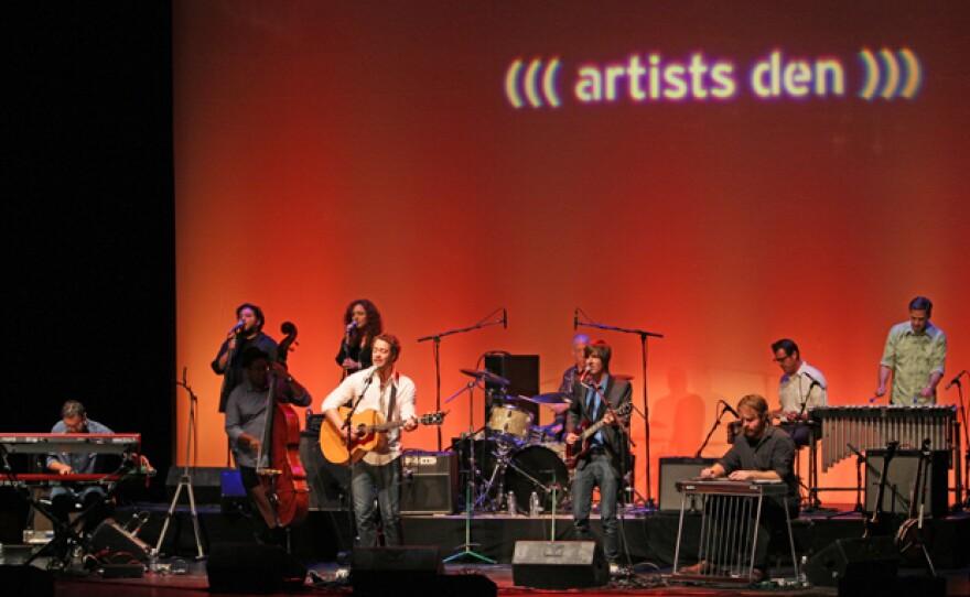 (left to right) Jaron Olevsky, Mutlu Onaral, Vicente Archer, Dani Elliott, Amos Lee, Freddie Berman, Zach Djanikian, Andy Keenan, John Convertino, Joey Burns perform live on August 23, 2011, at The Fox Theatre, in Tucson, Ariz.