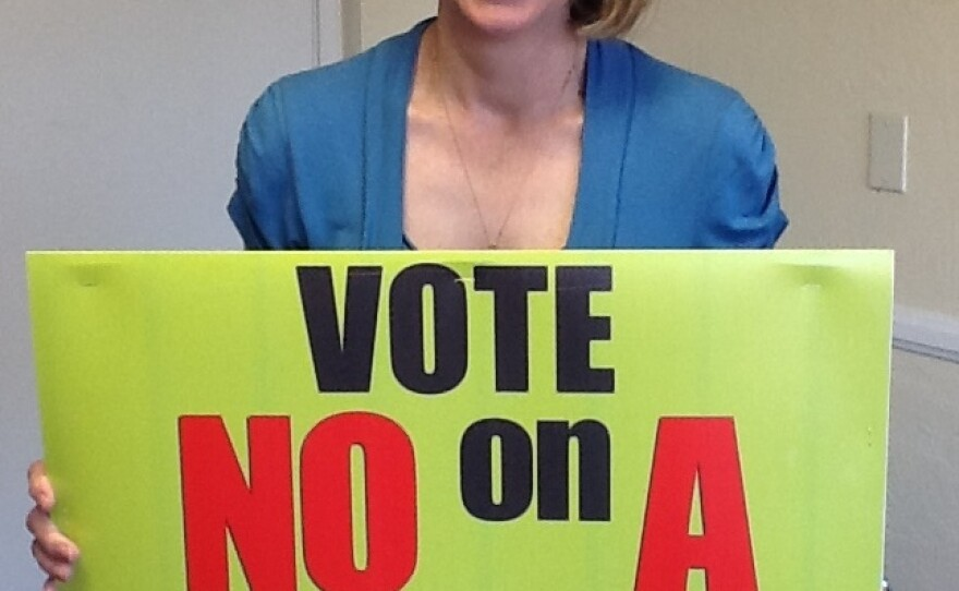 """DeAnn Weimer at the """"No On A"""" Campaign headquarters in Carlsbad, Feb. 12, 2016."""