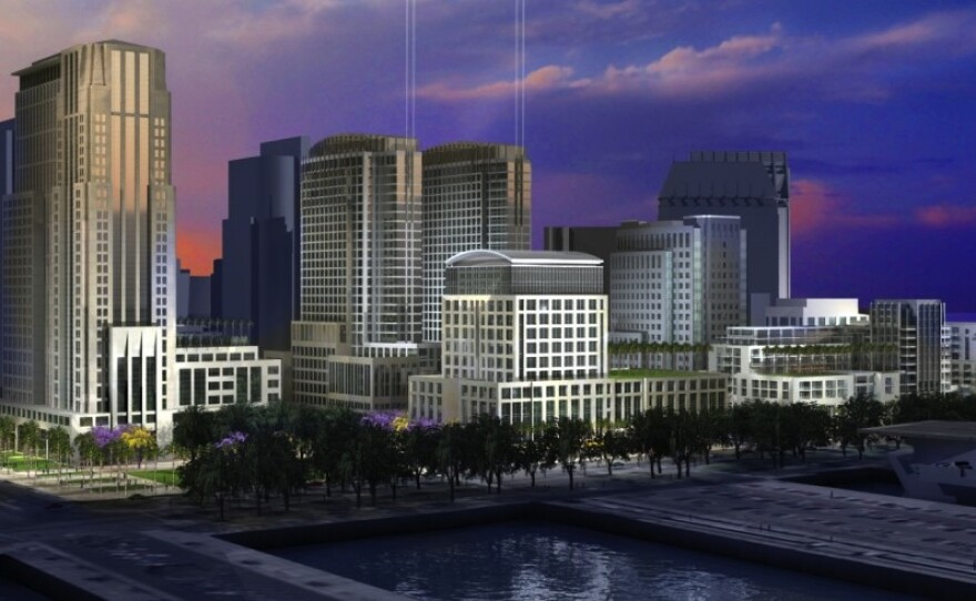 An artist's rendering shows developer Doug Manchester's proposal for the Navy Broadway Complex, October 2009.