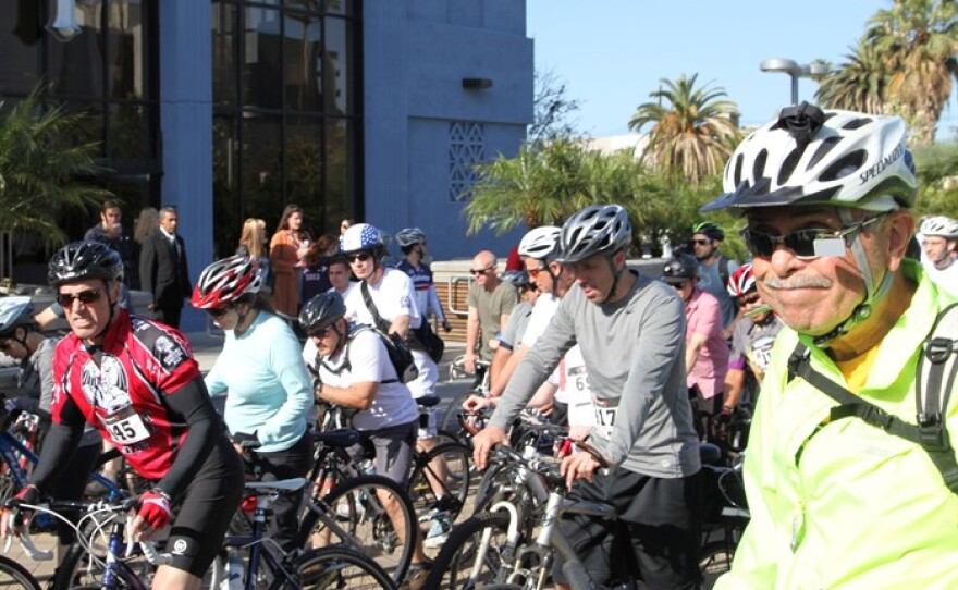Hundreds of Los Angeles-area cyclists participated in Finish the Ride on April 27, 2014.
