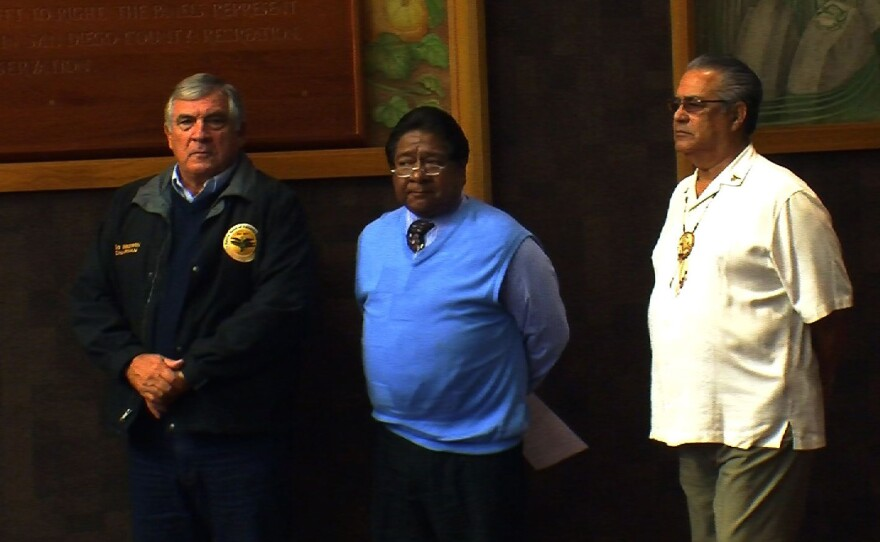 Bo Mazzetti, chair of the Rincon Band; Danny Tucker, chair of the Sycuan Band and Alan Lawson, chair of the San Pasqual Band of Mission Indians, appearing before the San Diego County Board of Supervisors on Oct. 11, 2011.