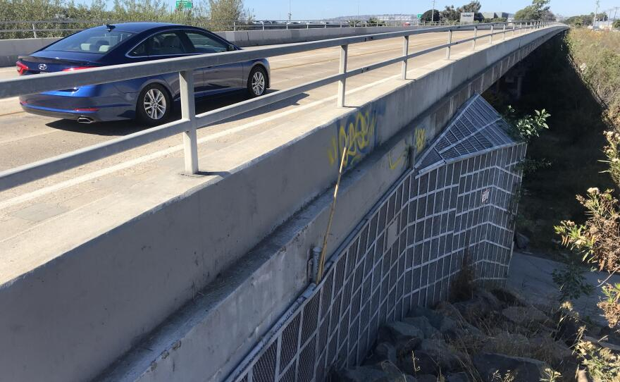 A car drives over a bridge on Pacific Highway deemed structurally deficient by the federal government, Oct. 17, 2018.