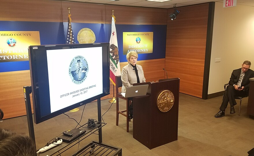 San Diego County District Attorney Bonnie Dumanis prepares to announce her office's ruling on five officer-involved shootings, Jan. 10, 2017.