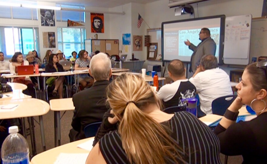 Teachers meet at Lincoln High School to talk about what they can do to make ethnic studies classes a part of the San Diego Unified School District's curriculum, May 19, 2015.