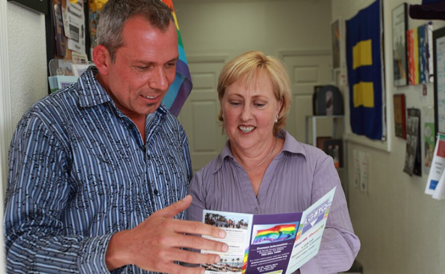 Max Disposti and Carolyn Bolton, at the North County LGBT Resource Center.