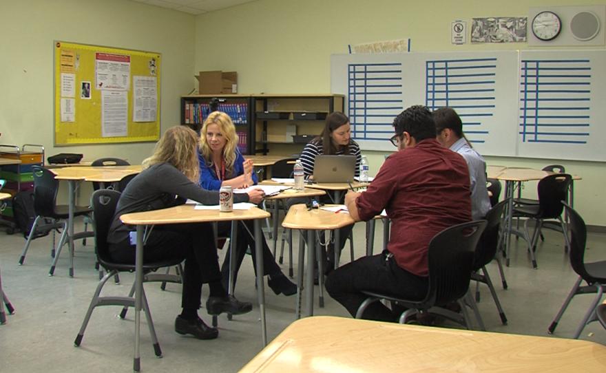 Hoover High School math teachers talk after school, Jan. 18, 2017.