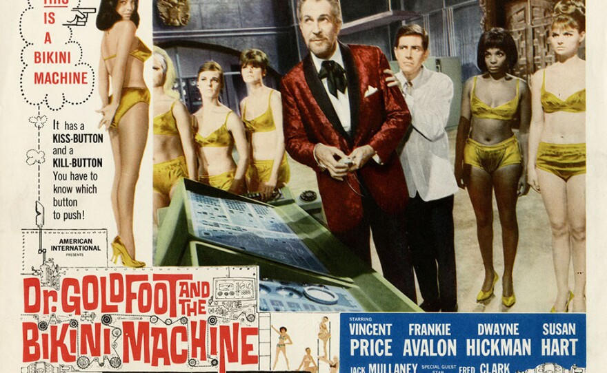 """The spy film with the silliest title goes to """"Dr. Goldfoot and th Bikini Machine"""" starring Vincent Price."""
