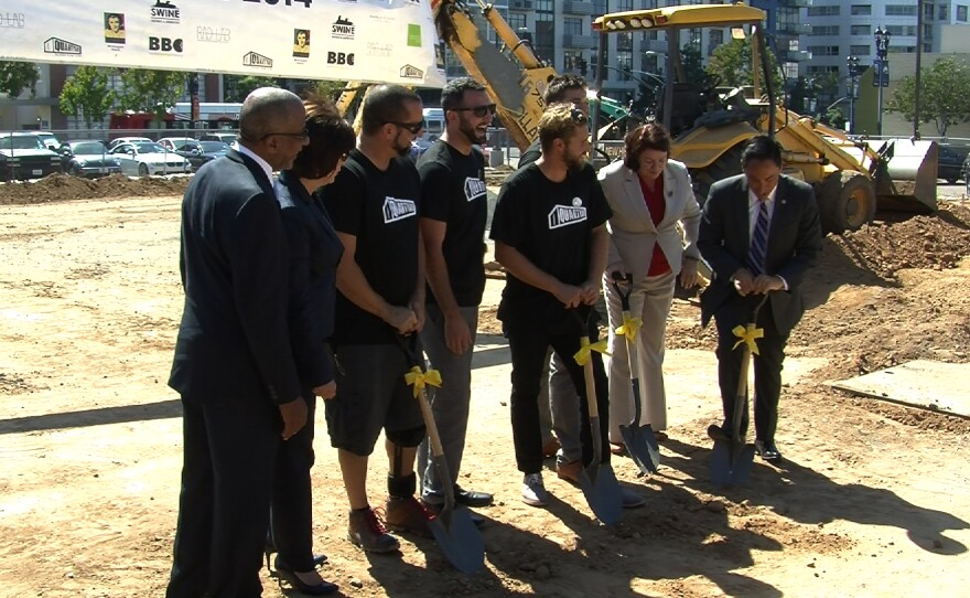 Reese Jarrett, president of Civic San Diego; Kris Michell, CEO of the Downtown San Diego Partnership; state Assembly Speaker Toni Atkins; and City Council President Todd Gloria help the RAD Lab team break ground on a temporary park in San Diego's East Village, Oct. 1, 2014.