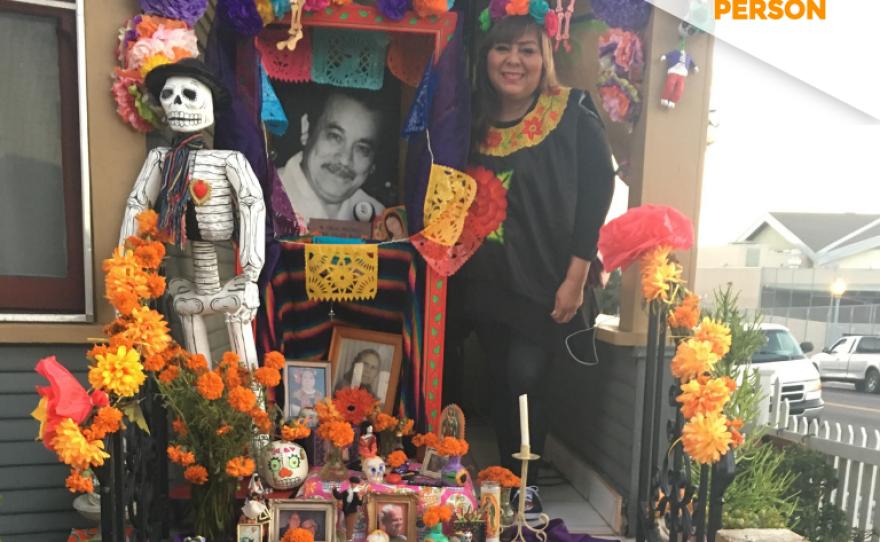Pita Verdin, standing next to her Dia de los Muertos altar at her home in Sherman Heights, October 29, 2017.