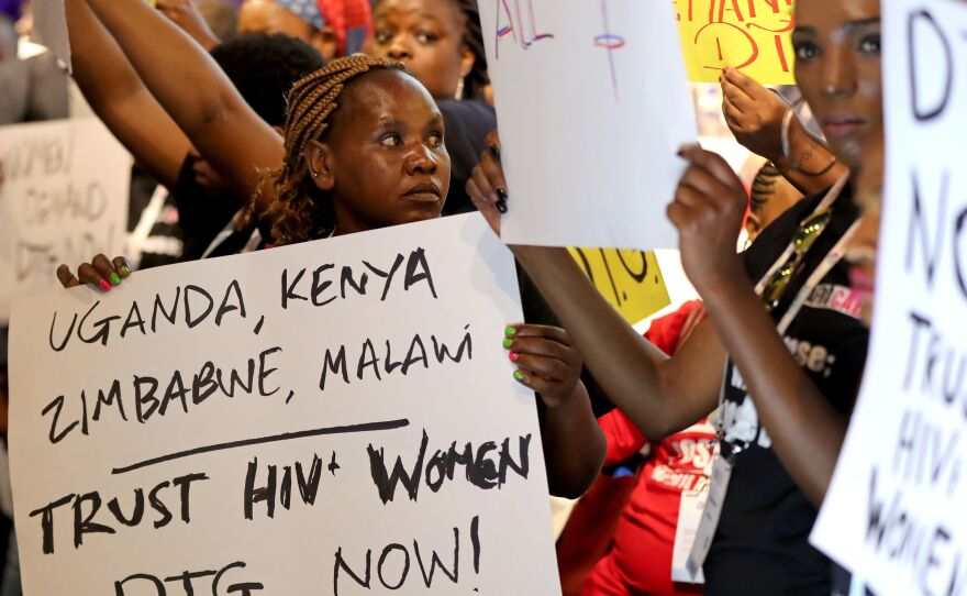 Women of the Treatment Action Campaign and are affected by the HIV virus campaign for the use of Dolutegravir (DTG) at the International Aids Conference at the RAI Amsterdam Convention Centre.