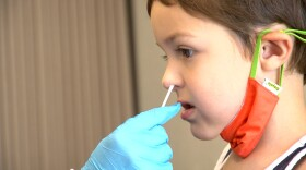 4-year-old Max Martinez getting tested at the school district COVID-19 Testing Center in Chula Vista, Sept. 20, 2021.