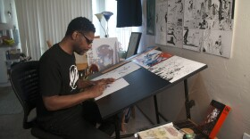 Artist and comics creator Keithan Jones, seen here in his home studio, in this file photo from July 10, 2018.