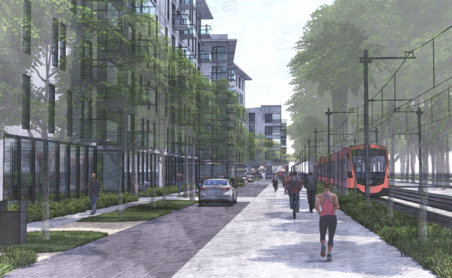 An artist's rendering shows the proposed affordable housing complex adjacent to the Palm Avenue trolley station.