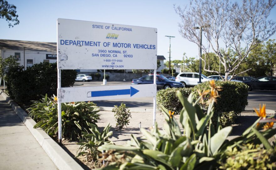 The sign at the entrance of the state Department of Motor Vehicles office on Normal Street in San Diego, Oct. 21, 2016.