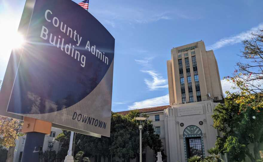 The San Diego County Administration Building in this file photo taken on Dec. 13, 2020.