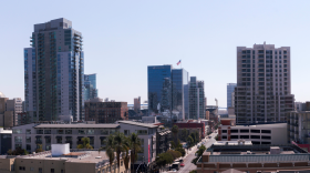 An aerial view of buildings in Downtown San Diego. Oct. 2, 2020.