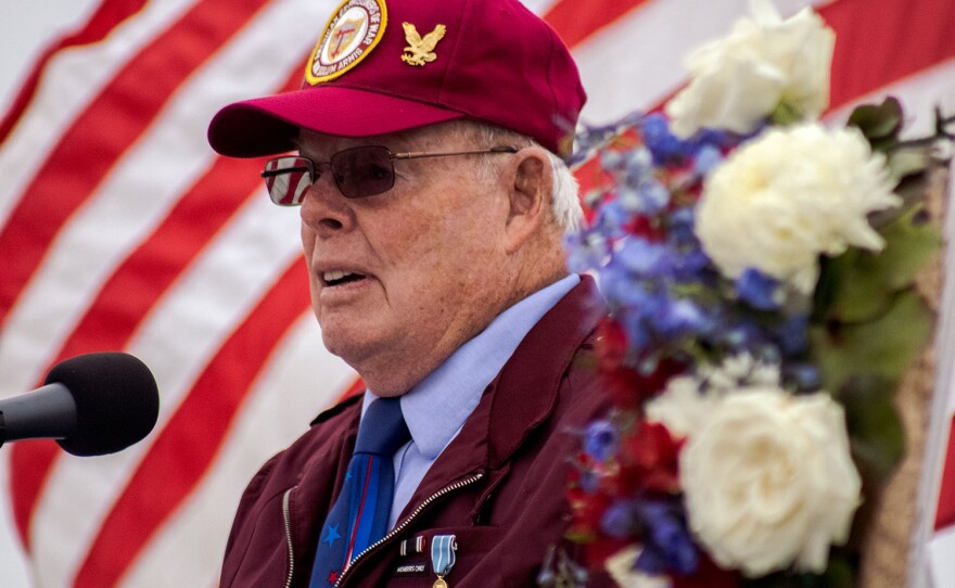 Navy Veteran Tom Crosby is shown speaking during the USS Midway Museum's Memorial Day service on May 31, 2021.