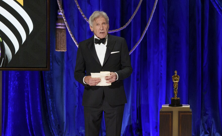 Harrison Ford presents the Oscar® for Film Editing during the live ABC Telecast of The 93rd Oscars® at Union Station in Los Angeles, CA on Sunday, April 25, 2021.