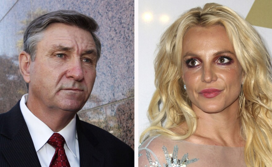 This combination photo shows Jamie Spears, left, father of Britney Spears, as he leaves the Stanley Mosk Courthouse on Oct. 24, 2012, in Los Angeles and Britney Spears at the Clive Davis and The Recording Academy Pre-Grammy Gala on Feb. 11, 2017, in Beverly Hills.
