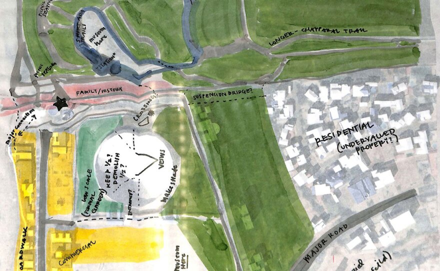 """A drawing from """"Build That Park!,"""" a design competition and exhibition based on Friendship Park. A San Diego Design Week walkthrough of the exhibition will take place Saturday, Sept. 11, 2021 at 1 p.m."""