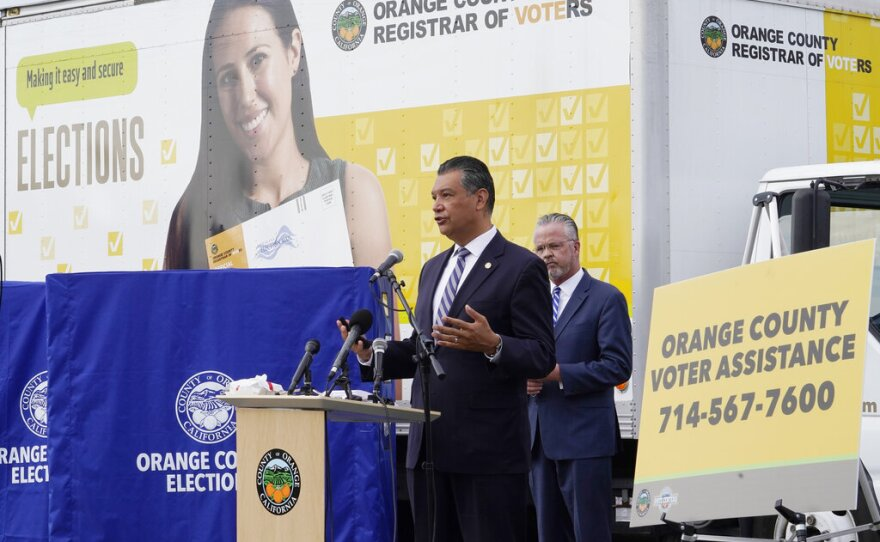 In this Oct. 5, 2020 photo, California Secretary of State Alex Padilla holds a news conference on Orange County's plans to safeguard the election and provide transparency in Santa Ana, Calif.