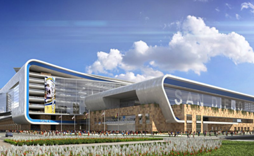 A conceptual rendering of the proposed Chargers stadium and convention center in downtown San Diego. The renderings may be revised in the future.