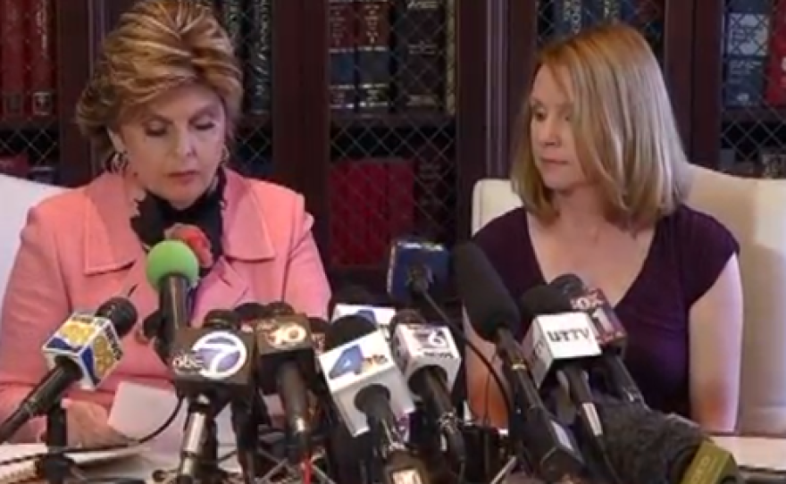 Attorney Gloria Allred and The mayor's ex-fiancee, Bronwyn Ingram at Thursday's press conference. Credit: NBC San Diego