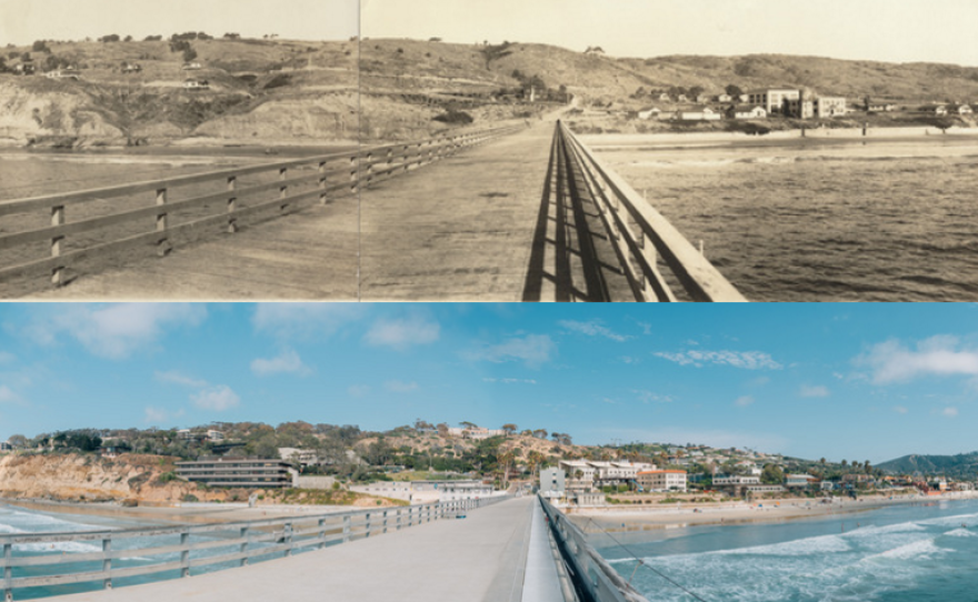 A panorama of the Scripps Pier in 1927, top, and in 2016.