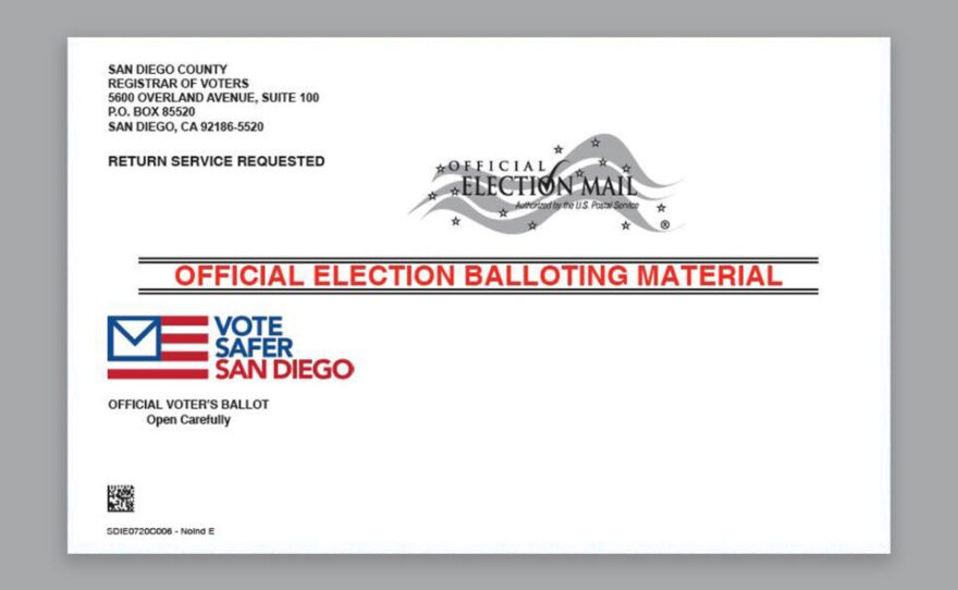 Undated image shows the outside envelope of a mail ballot that went out to more than 1.9 million registered voters in San Diego County, Oct. 5, 2020.