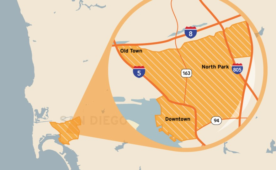 This map shows the location of the San Diego City Council's District 3. It includes Old Town, Mission Hills, Middletown, Bankers Hill/Park West, Little Italy, Balboa Park, Downtown, Golden Hill, South Park, North Park, Hillcrest, University Heights and Normal Heights.