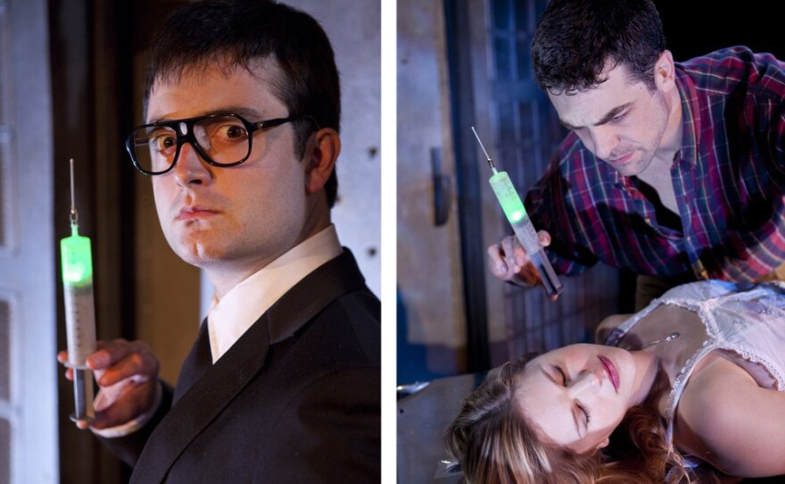 "Graham Skipper as Herbert West, and Chris L. McKenna as Dan and Rachel Avery as Megan in ""Re-Animator: The Musical."""