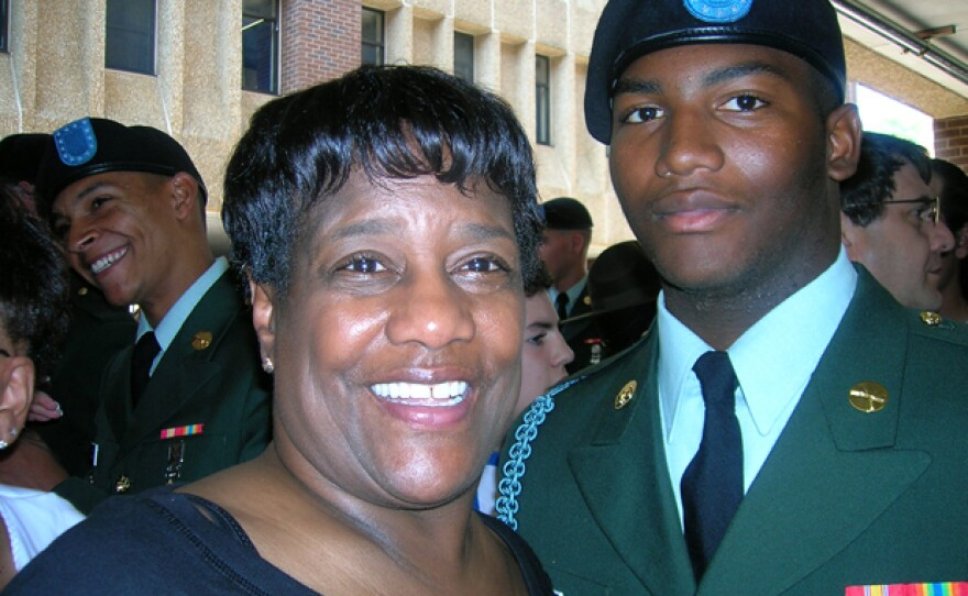 """Paula Davis with her only child, Private First Class Justin R. Davis, who gave his life while serving in Afghanistan. The """"National Memorial Day Concert"""" will feature the powerful story of this America hero and his family."""