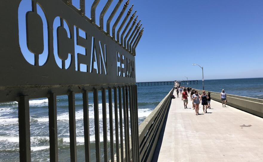 People walking on Ocean Beach Pier on June 9, the first day the pier reopened after the COVID-19 closure.