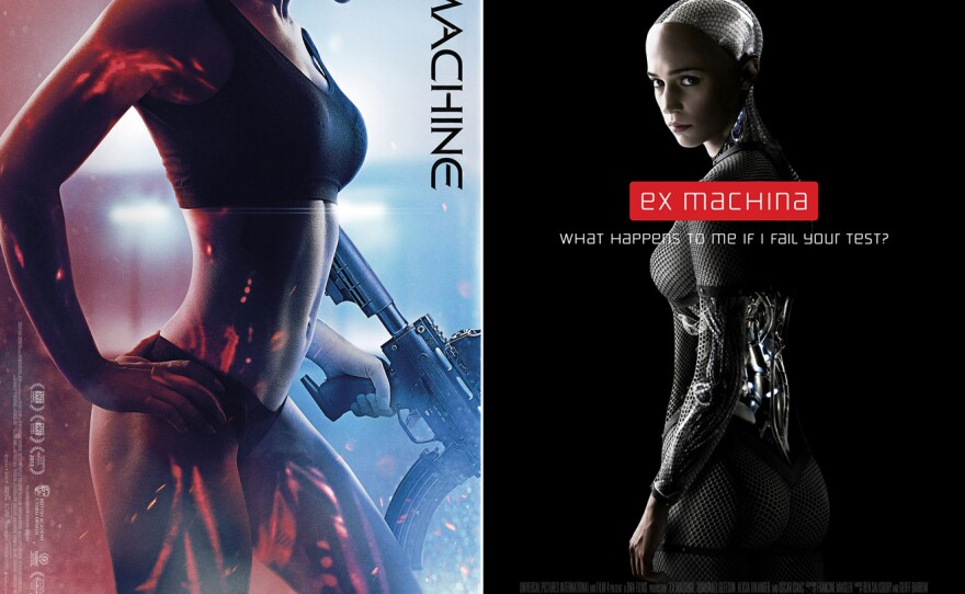 """Comparison of the posters for the Welsh sci-fi action film """"The Machine,"""" and the new thriller """"Ex Machina,"""" both deal with artificial intelligence that crosses over into consciousness."""