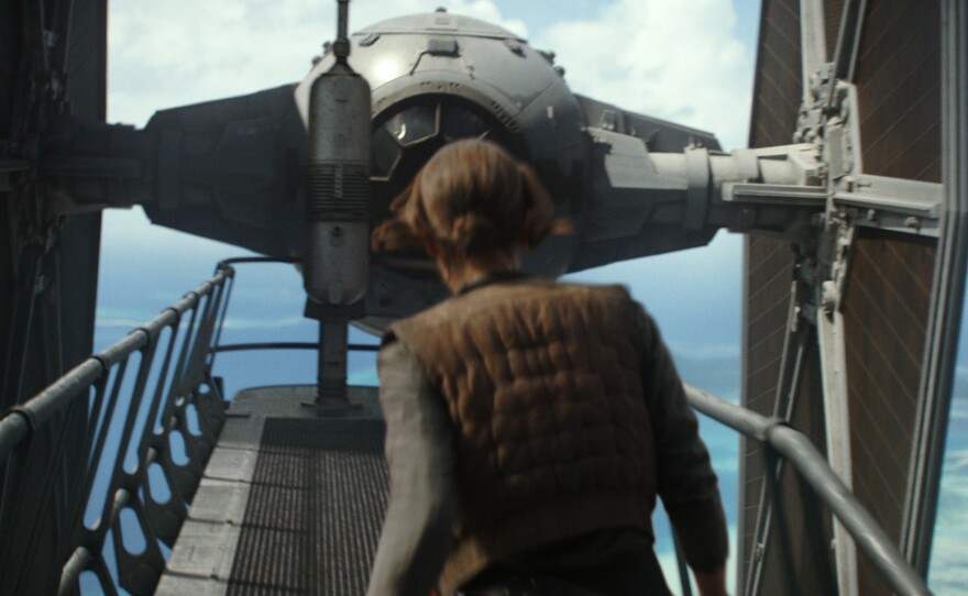 """Felicity Jones stars as Jyn Erso, a young woman whose family ties pull her into the rebellion in """"Rogue One: A Star Wars Story."""""""